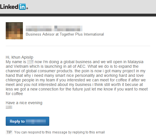 ข้อความขอนัดพบจากคนทำ MLM ที่ถูกส่งมาทาง LinkedIn